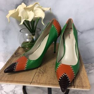 Orange, Green and Brown Color Block Heels Sz. 7.5